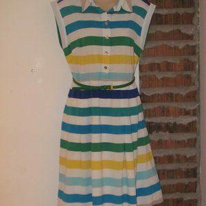 Calvin Klein Striped Dress with Belt Size 8